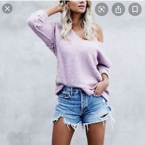 Free People Alpaca Lofty V SOFT Chunky Sweater L